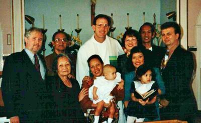 Baptism of John ( godfather John Doran, godmother O'nie O'Nilda Cuñada Aclaro) with Uncle Melvin, Father Steve, Nong Chit, Rosemary Cunada- Escolano, Mom & Mark